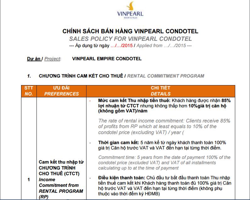 chinh sách bán hàng Vinpearl Condotel mới nhất1