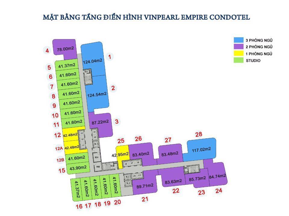 Mặt bằng của dự án Vinpearl Empire Condotel Nha Trang